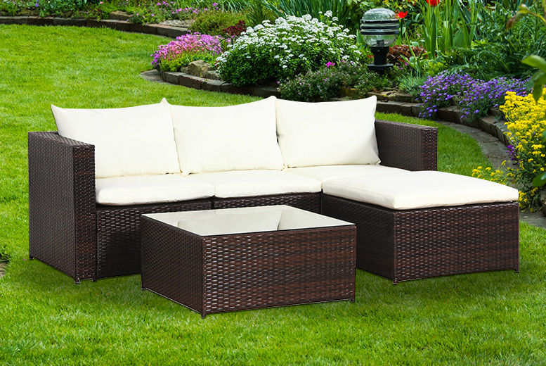 5pc Malaga Rattan Garden Modular Sofa Set – 2 Colours! for £289.00