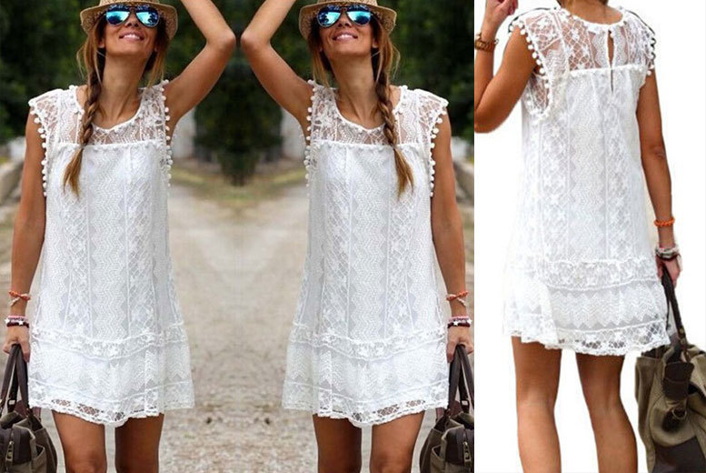 Lace Summer Dress – 3 Colours & UK Sizes 8-14! for £8.00