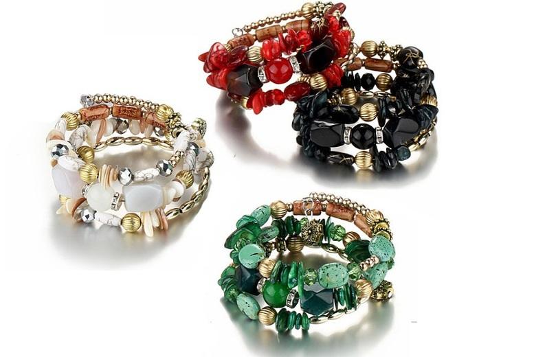 Multi-Stone Wrap Bracelet- 4 Colours!