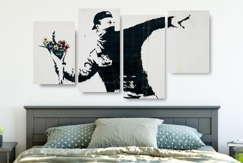 4-Panel Banksy Canvas Prints – 8 Designs! for £14.00