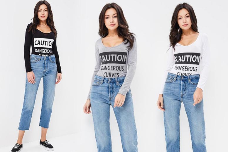 'Caution' Bodysuit – 3 Colours & 2 Sizes! for £7.00
