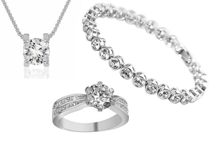 Crystal Bracelet, Ring & Necklace Set for £19.99