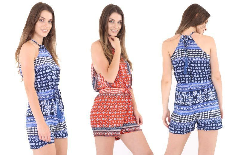 High Neck Cut-Out Playsuit – 2 Colours & UK Sizes 6-14! for £9.00