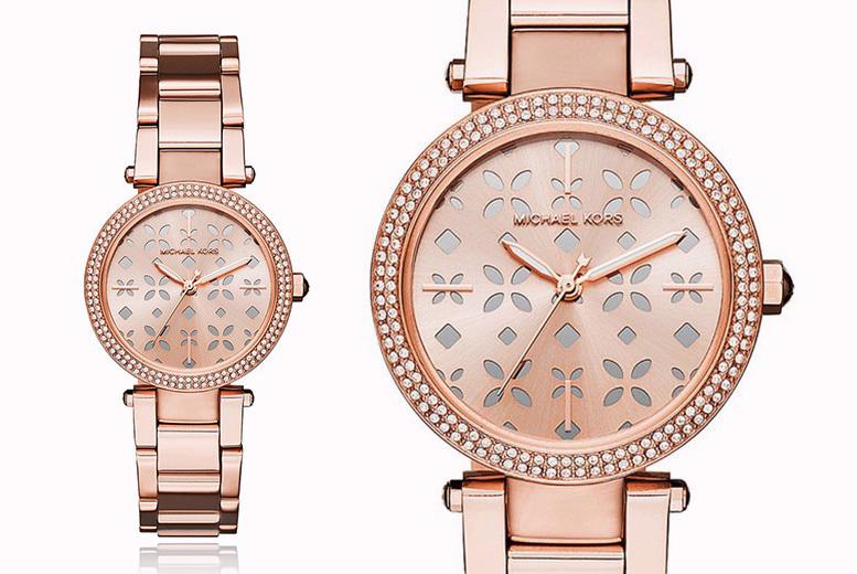 Michael Kors MK6470 Mini Parker Rose Floral Cutout Dial Watch