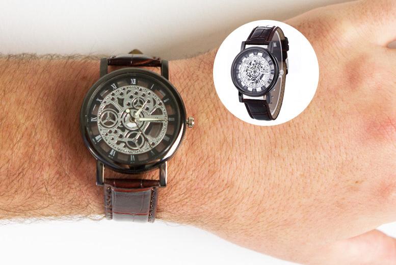 Men's Vegan Leather Skeleton Watch - 2 Designs!