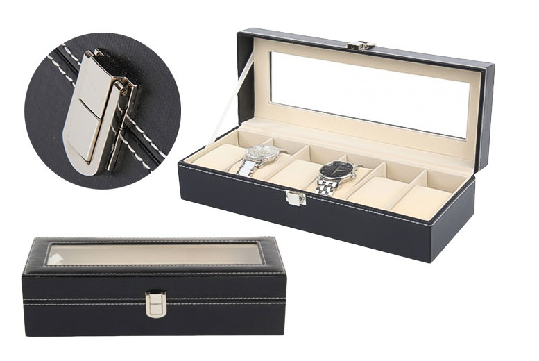 Faux Leather Watch Box - Fits 6 Watches!
