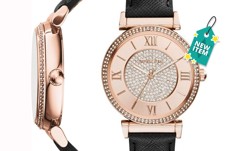 Michael Kors MK2376 Catlin Rose Crystal-Set Leather Ladies Watch