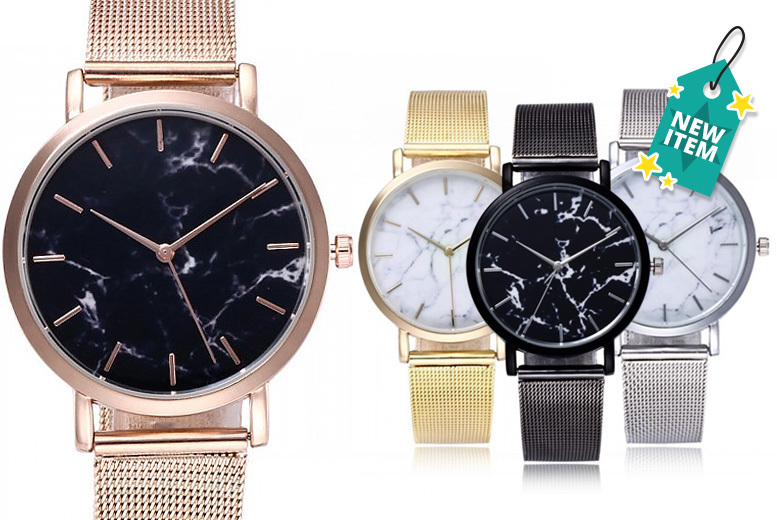 Marble Print Dial Mesh Watch - 4 Colours!