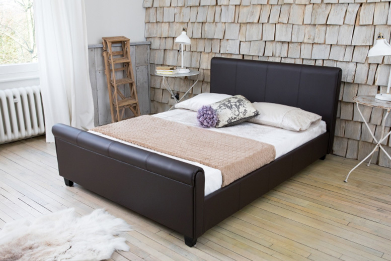 Brown Faux Leather Sleigh Bed with Optional Mattress