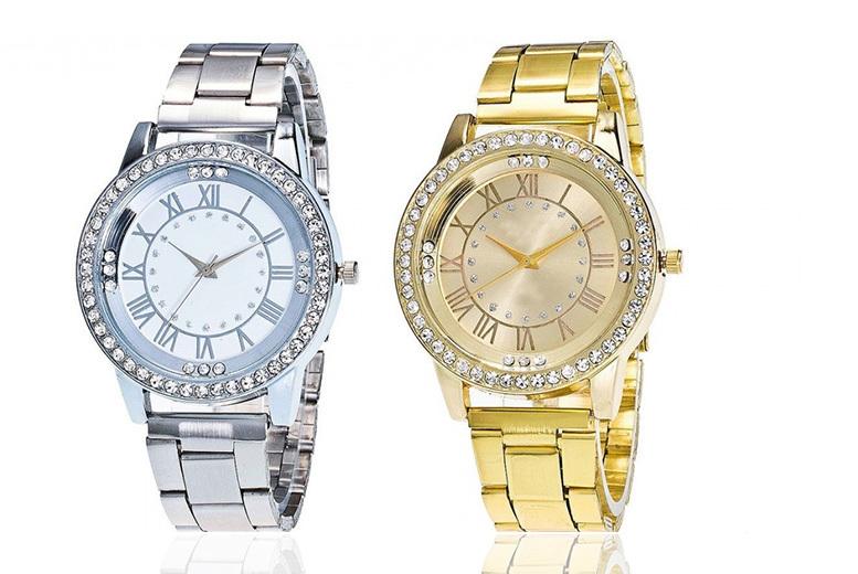 Ladies Crystal Geneva Watch - 2 Designs!