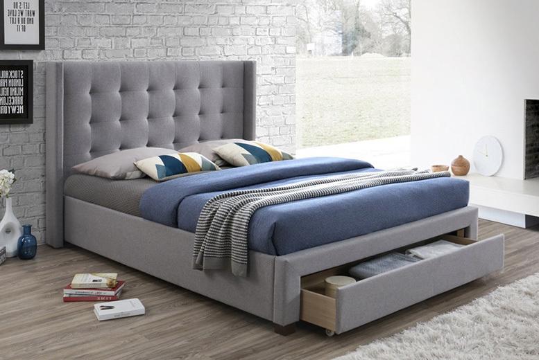 Designer Heather Grey Fabric Storage Bed - Optional Mattress!