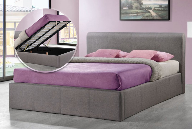 Grey Fabric Gas-lift Ottoman Storage Bed with Mattress Options!