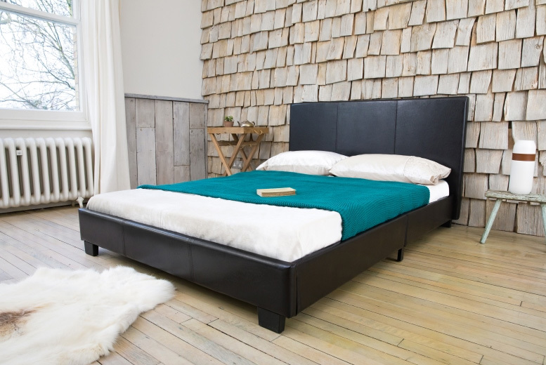 Modern Italian Designer Faux Leather Bed - 2 Colours & 3 Mattress Options!
