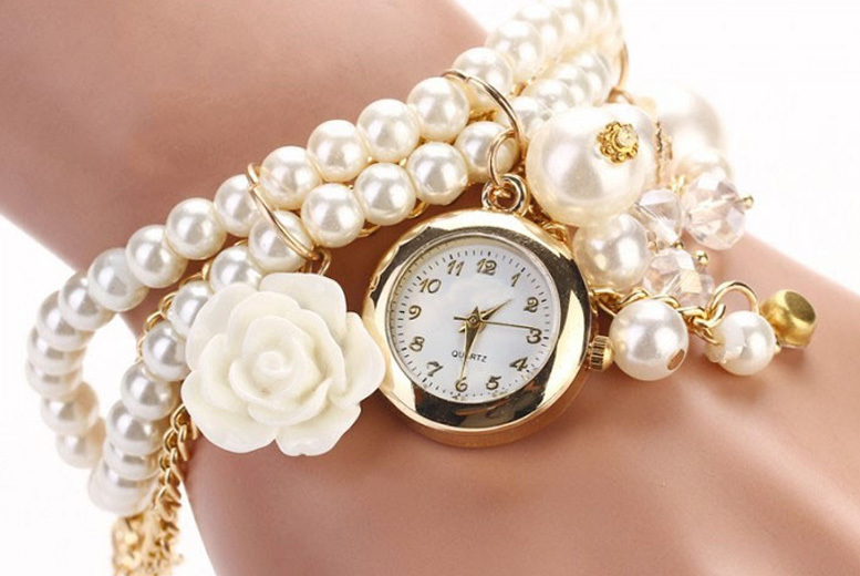 Rose Charm Wrap Watch w/ Imitated Pearls - 5 Colours!
