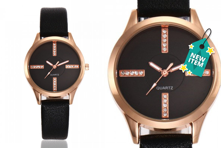 Faux-Leather 'Emmie' Watch with Crystal Accents - 3 Colours!