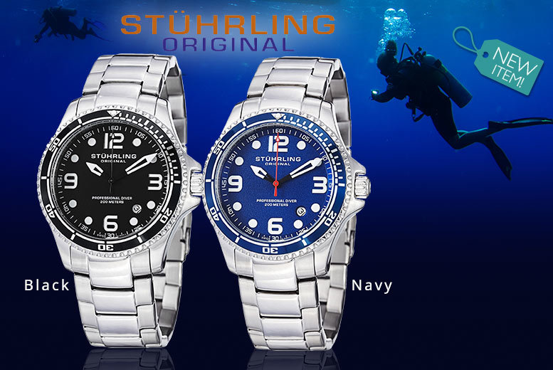 Men's Stuhrling 'Aquadiver' Collection Watch - 4 Designs!
