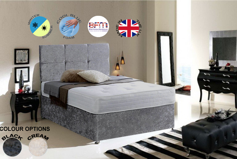 Crushed Velvet Divan Bed & Memory Foam Mattress - 3 Sizes & Drawer Options!