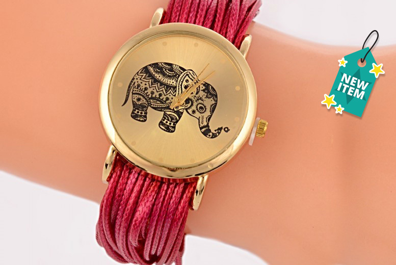 Elephant Watch with Layered Bracelet - 5 Colours!