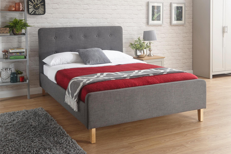 Ashbourne Grey Fabric Bed - 3 Sizes!
