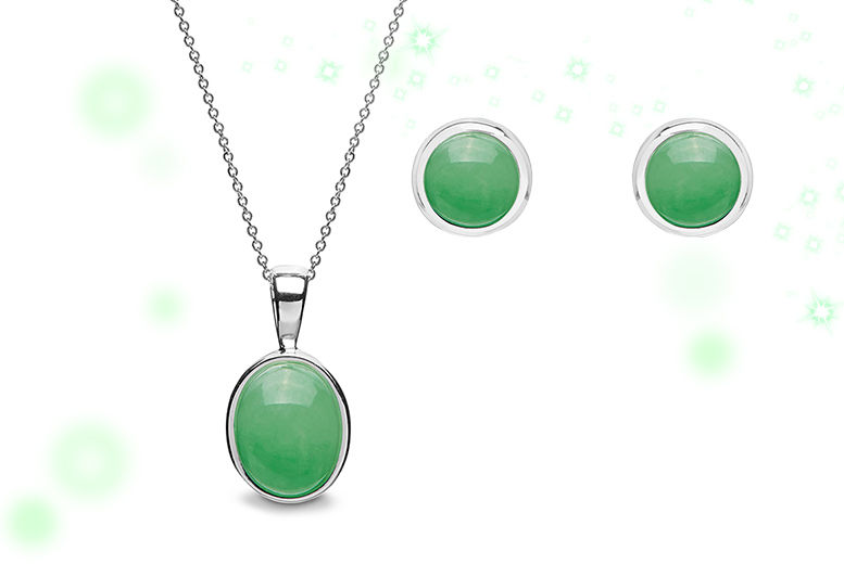 Jade Inspired Necklace and Earring Set