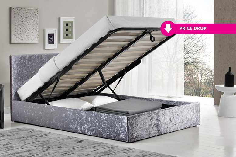 Designer Crushed Velvet Ottoman Storage Bed with Optional Mattress