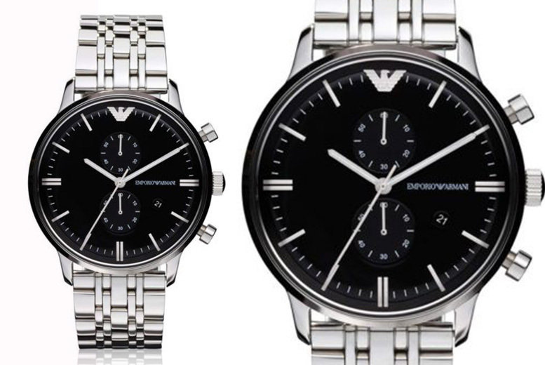 Emporio Armani AR0389 Men's Silver Chronograph Watch