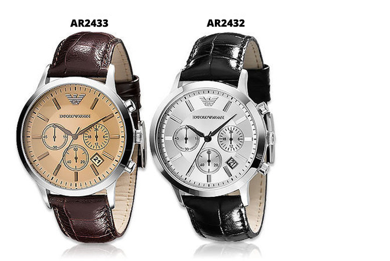 Men's Emporio Armani Leather Chronograph Watches - AR2432 + AR2433!