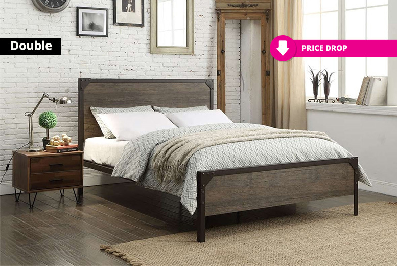 Marlow Metal & Wood Panel Bed Frame - 2 Sizes!