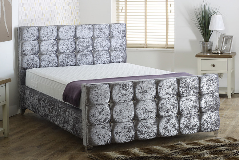 Vienna Crushed Velvet Bed - 2 Colours & 5 Sizes!