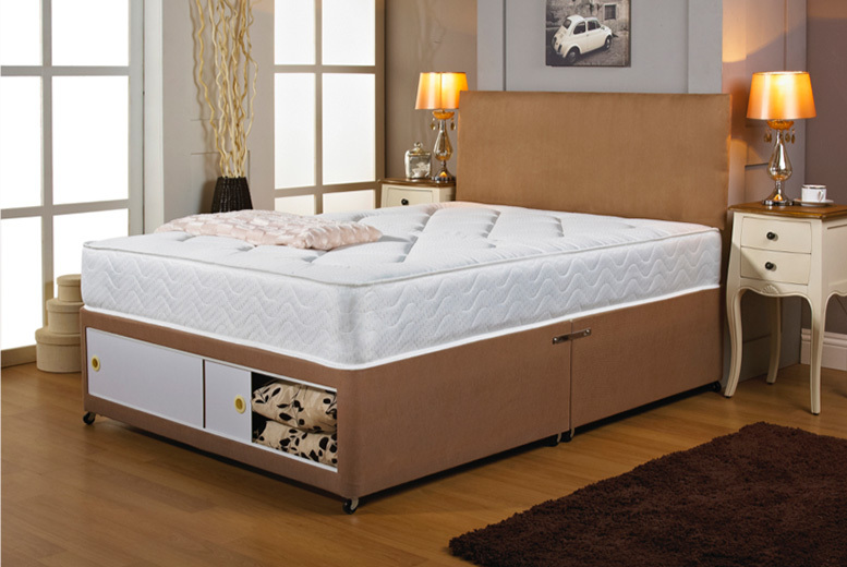 Fabric Divan Bed w/ Headboard, Mattress & Drawer Options – 6 Sizes! from £99