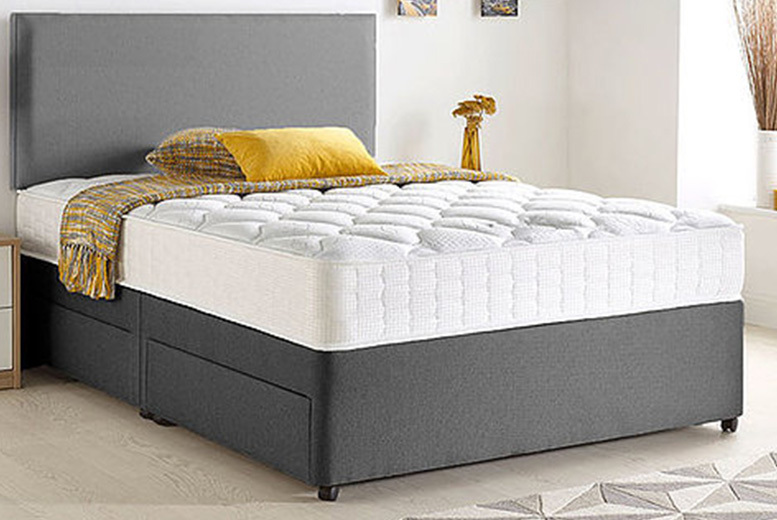 Grey Chenille Divan Bed with Memory Mattress & Optional Storage – 6 Sizes! from £99