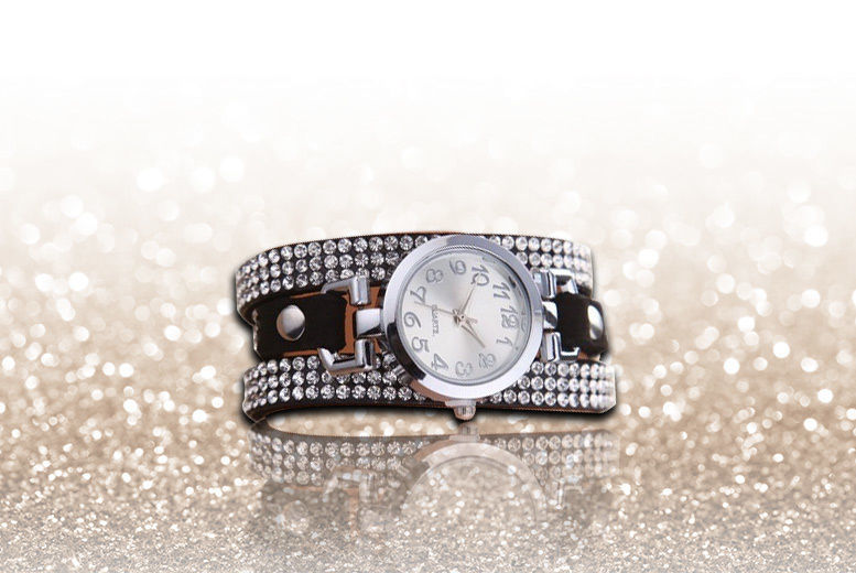 Crystal Bracelet Wrap Watch - Silver or Gold