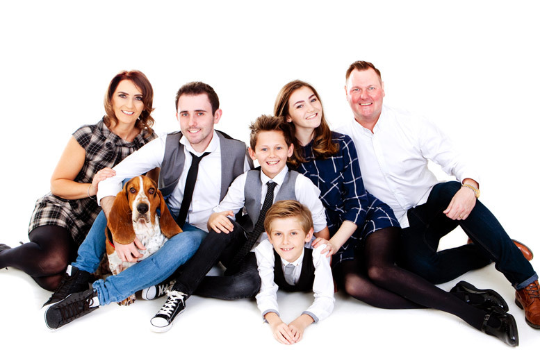 £9 for a one-hour pet and family photoshoot for up to 12 people with 12 prints at Premier Photography, Hamilton