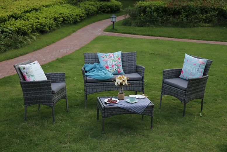 Eton 4pc Rattan Outdoor Furniture Set- 3 Colours!