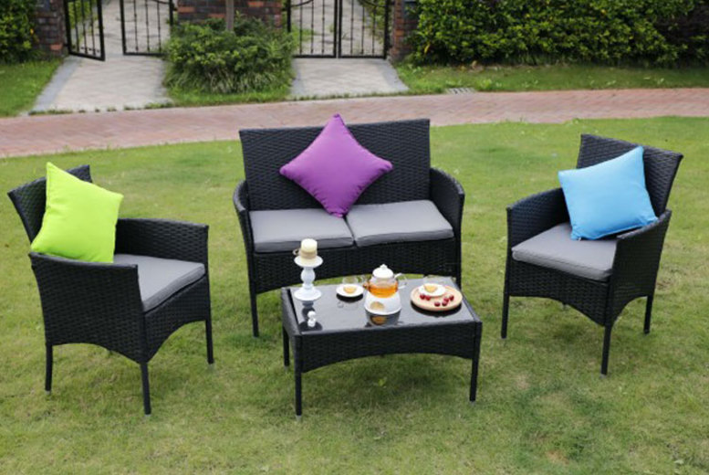 Eton 4pc Rattan Outdoor Furniture Set- 4 Colours!