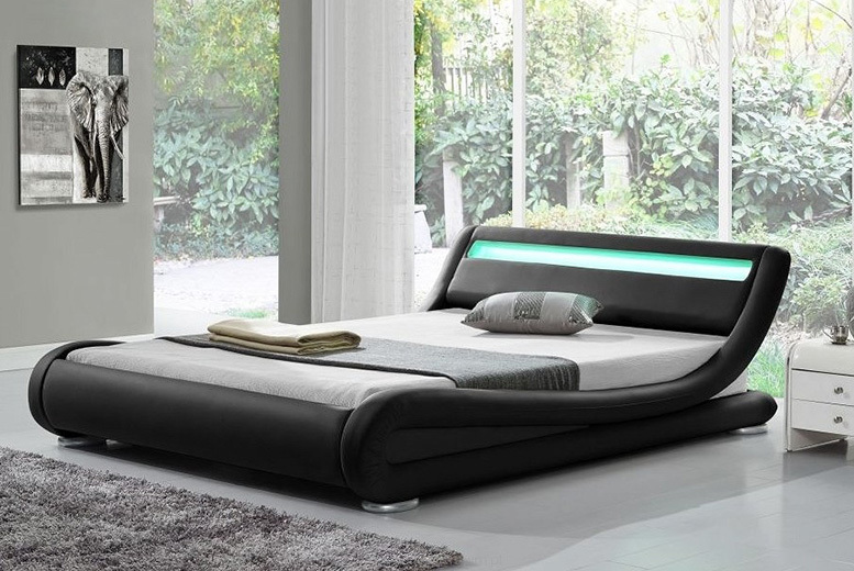 Rio LED Bed w/ Optional Mattress - 3 Sizes & 5 Colour Options!
