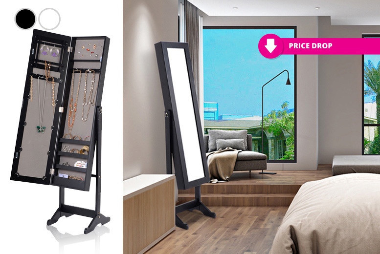 Modern Design Jewellery Storage Cabinet With Mirror - 2 Colours!
