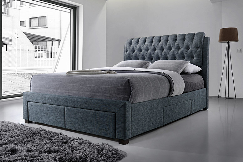 Designer 4-Drawer Grey Fabric Bed with Mattress Option - 2 Sizes!