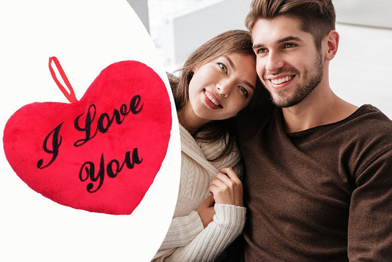 'I Love You' Heart-Shaped Plush Cushion