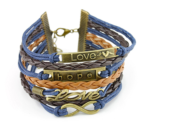 Love & Hope Faux Leather Bracelet