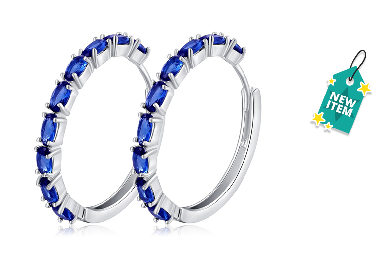 Created Sapphire Hoop Earrings