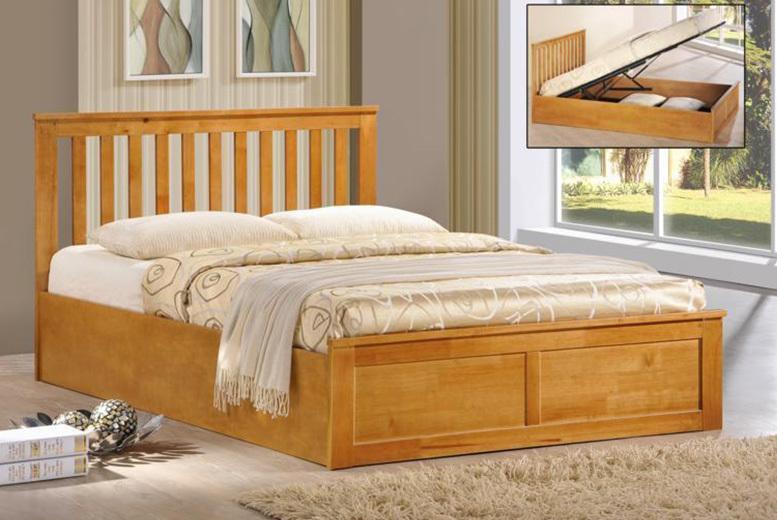 Wooden Ottoman Storage Bed with mattress option & 2 colours!