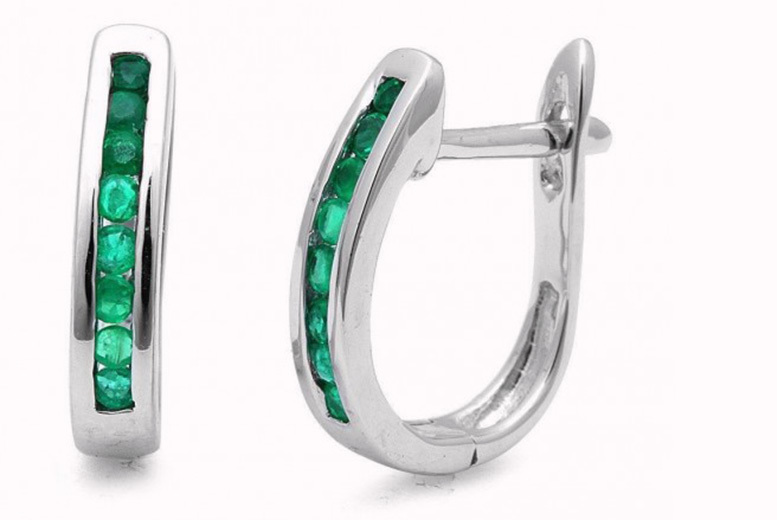 Emerald White-Gold Hoop Earrings