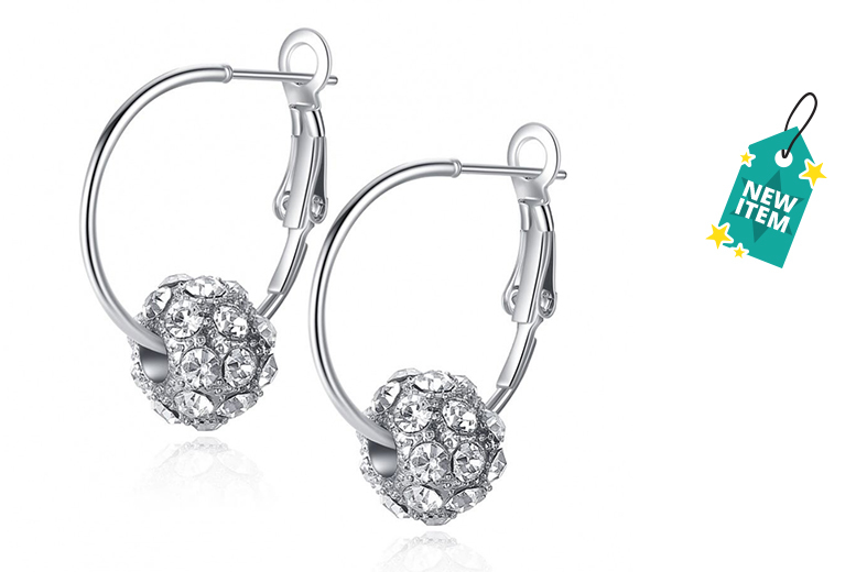 Clear Czech Crystal Ball Mini Hoop Earrings