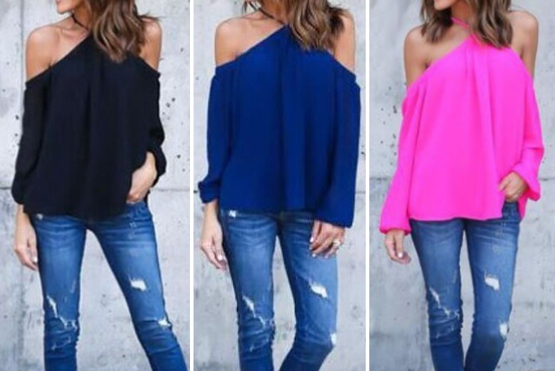 Cross Neck Cold Shoulder Shirt - UK sizes 12-16 & 3 Colours!