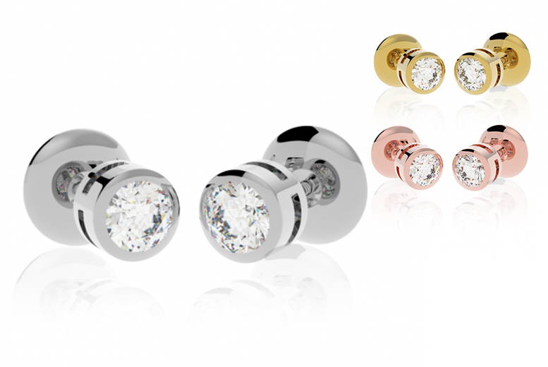Diamond Screw-Back Stud Earrings- 3 Colours!