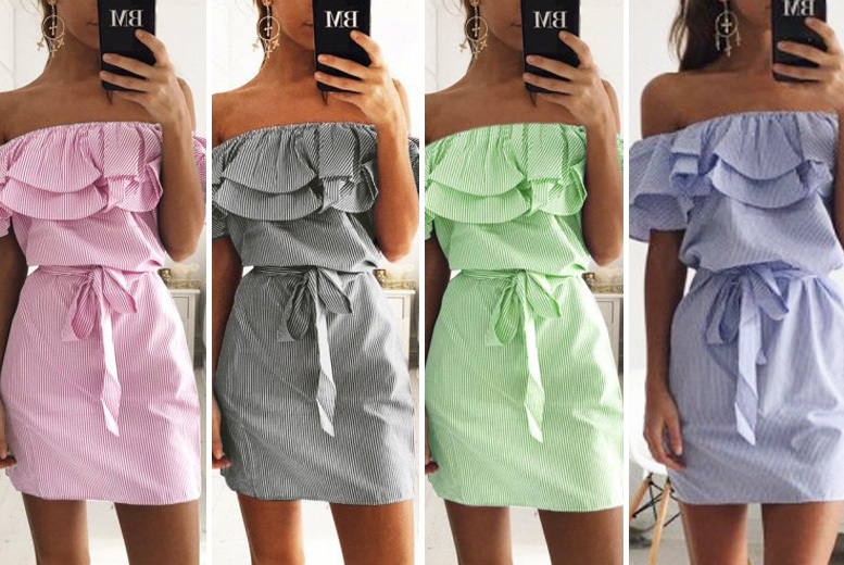 Boho Strapless Mini Dress – 4 Colours & UK Sizes 6-14! for £10