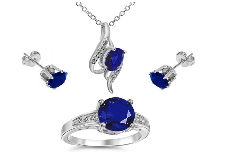 Royal Blue Crystal Pendant Necklace, Ring & Earrings Set
