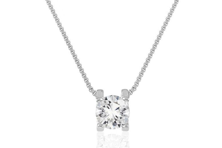 Rhodium Plated Pendant made with Crystals from Swarovski