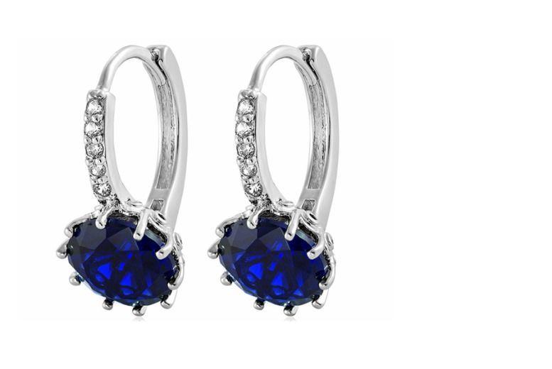 Royal Blue Zircon Clasp Earrings